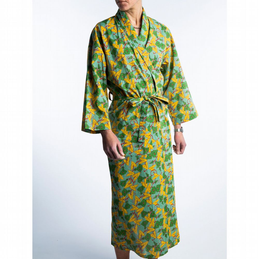 Printed Cotton Robe - Long - Morning Glory